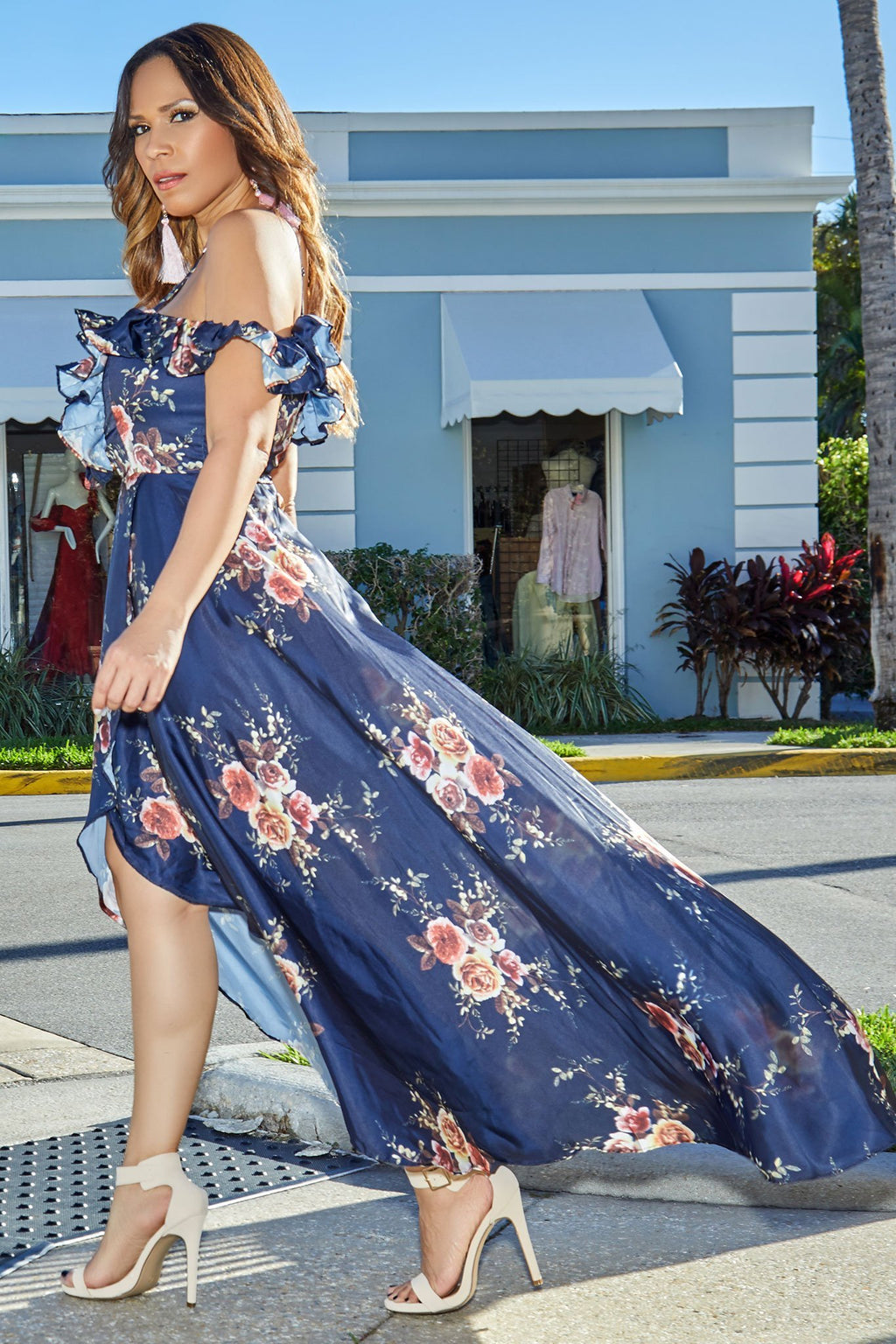 Navy Floral Print Plunging Off Shoulder High Low Maxi Dress