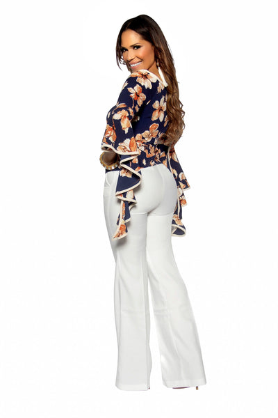 Navy Floral Print Draped Bell Sleeves Top