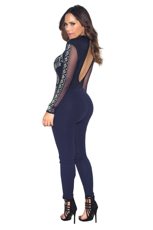 Navy Mesh Contrast Beaded Long Sleeve Bodycon Jumpsuit - MY SEXY STYLES  - 5
