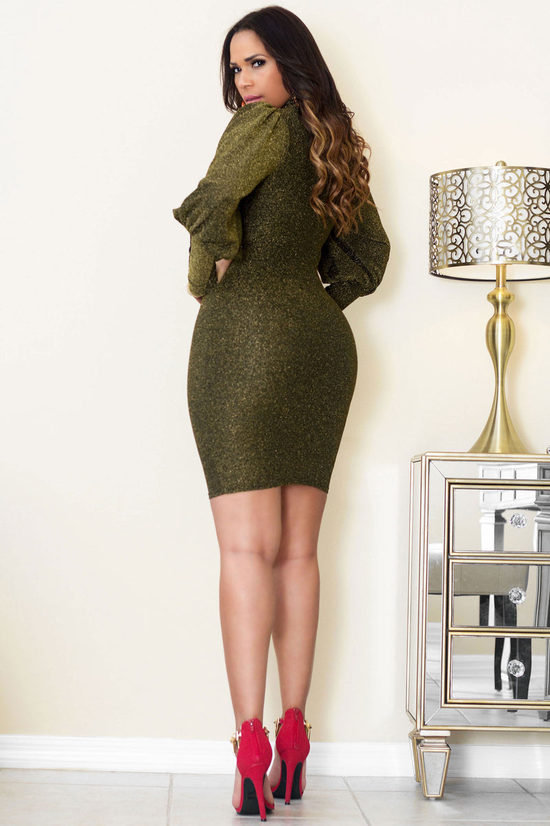 Nefertiti Puff Long Sleeves Olive Glitter Dress