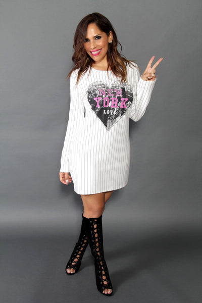 New York Love Long Sleeves Baseball Jersey Dress - MY SEXY STYLES