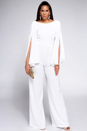 Niccolo Cape Sleeves Open Back Elegant White Jumpsuit