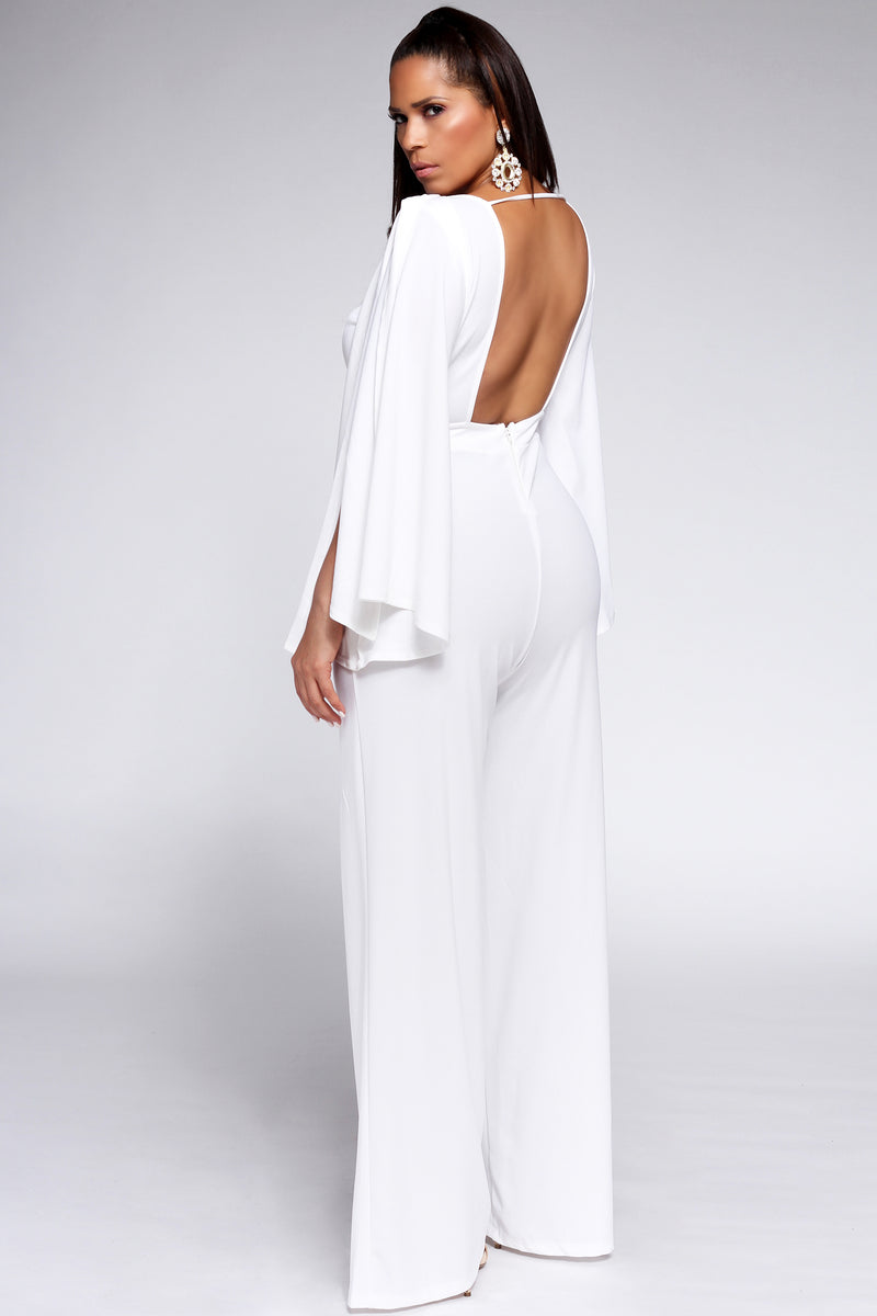 Niccolo Slit Sleeves Open Back Elegant White Jumpsuit