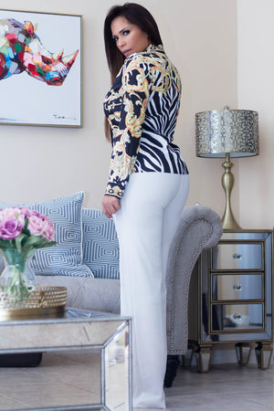Nicolo Baroque Zebra Print Long Sleeves Shirt