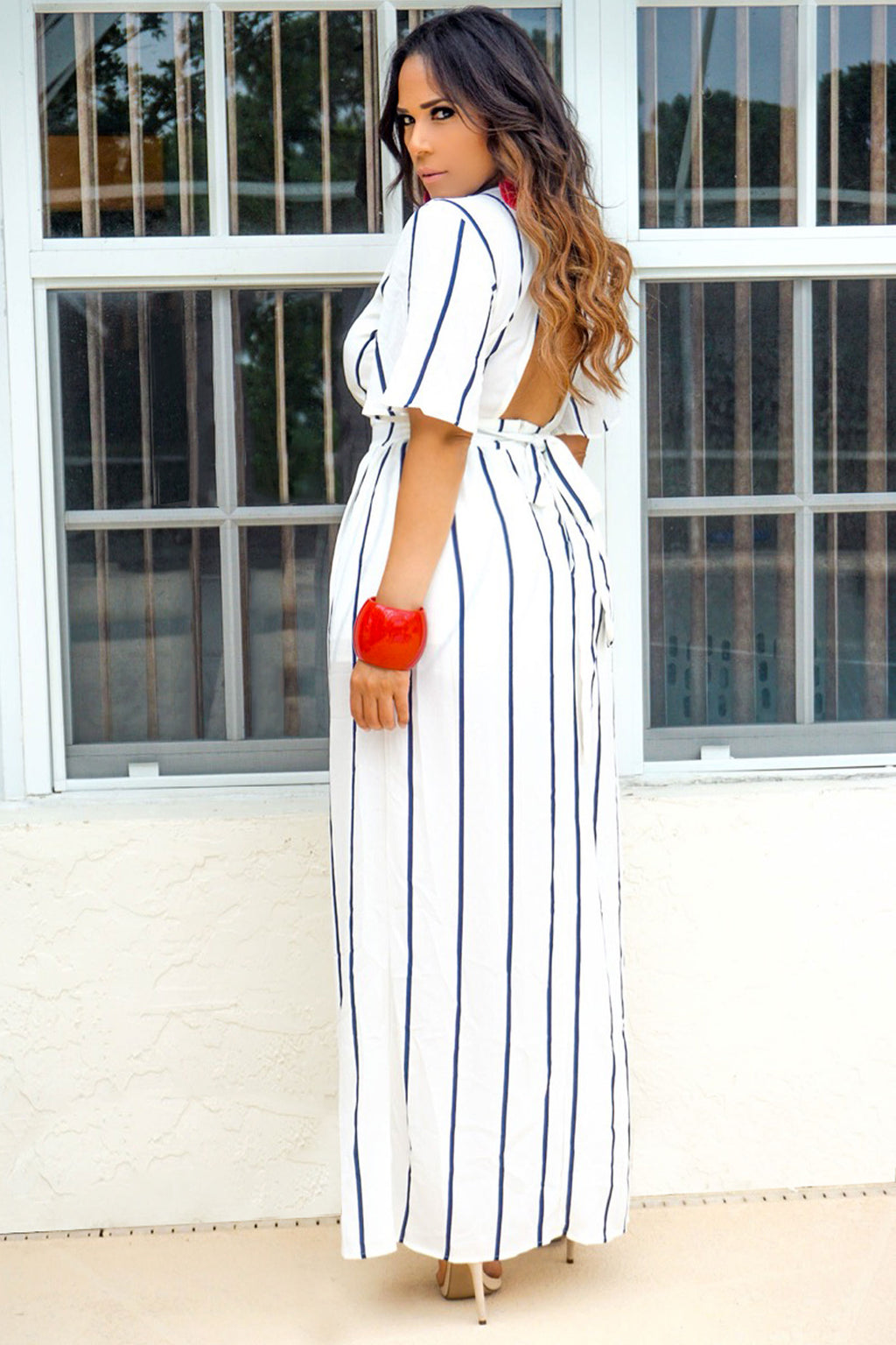 Nova Striped Ivory Navy Romper w/ Overlay Maxi Skirt