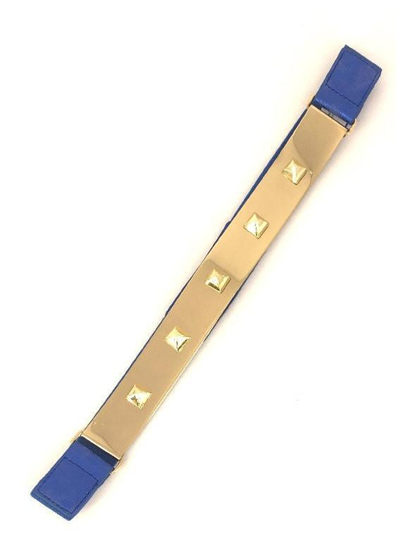 Royal Blue Stretch Gold Plated Pyramid Stud Belt - MY SEXY STYLES