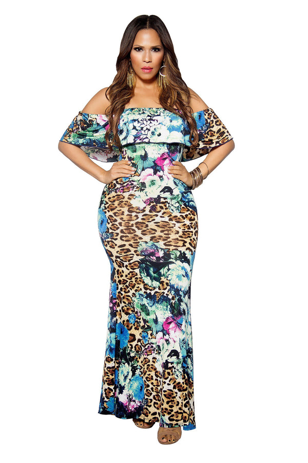 Off Shoulder Flower Print Bodycon Maxi Dress