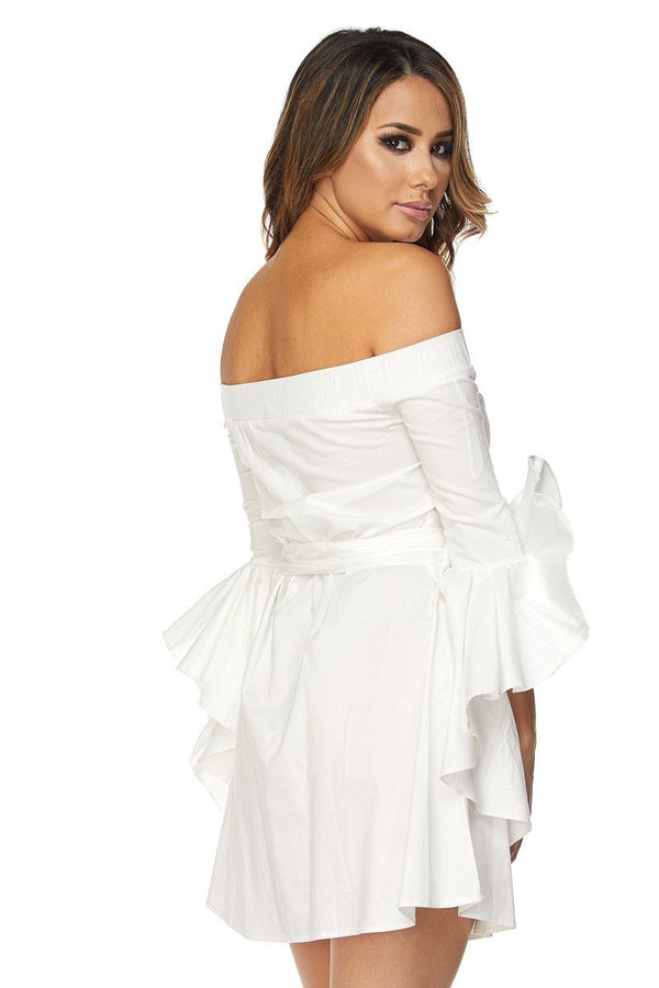Off Shoulder Mini Dress W/Ruffled Long Sleeves in White