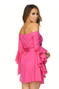Dana Off Shoulder Mini Dress W/Ruffled Long Sleeves in Fuchsia - MY SEXY STYLES