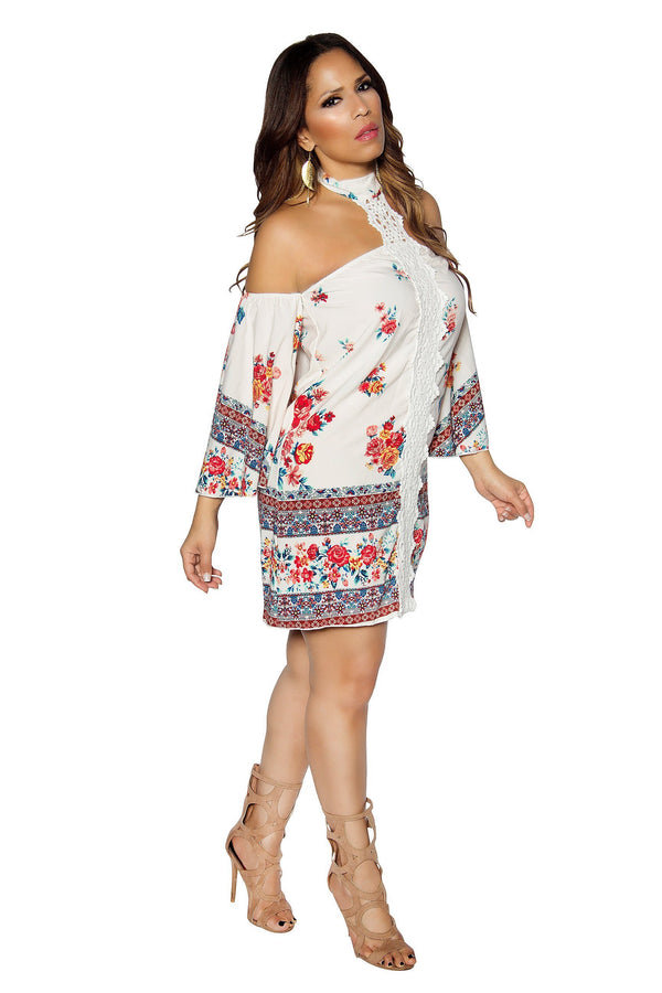 Off Shoulders Floral Print Boho Mini Dress
