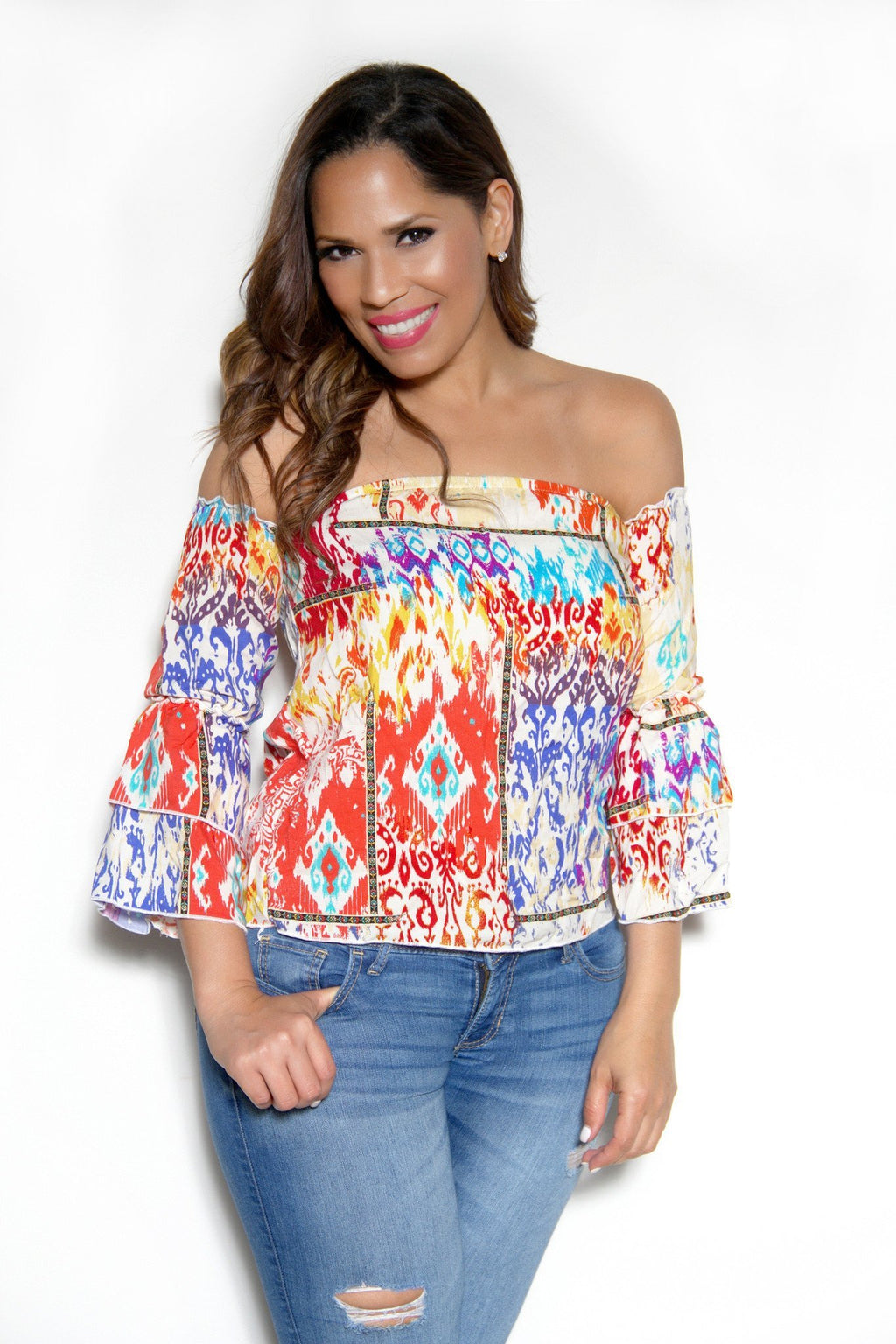 Off The Shoulder Coral Multicolor Boho Tribal Print Long Sleeves Top - MY SEXY STYLES