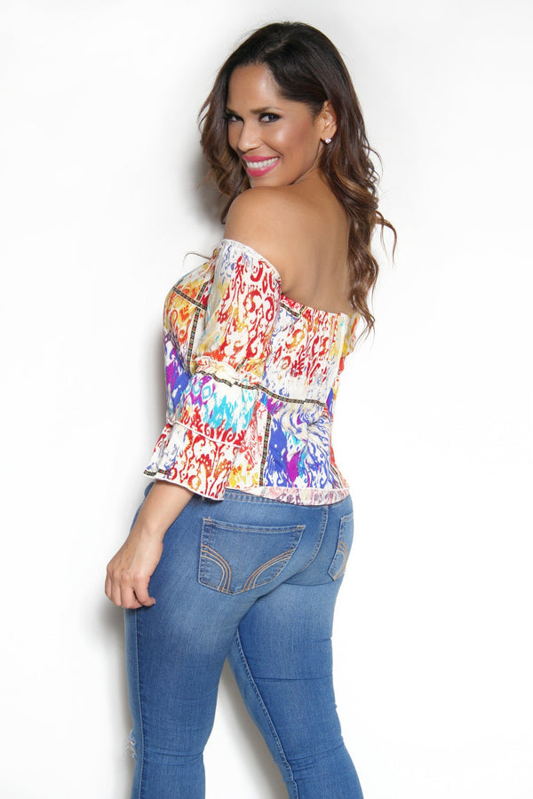 Off The Shoulder Multicolor Boho Tribal Print Long Sleeves Top - MY SEXY STYLES  - 2