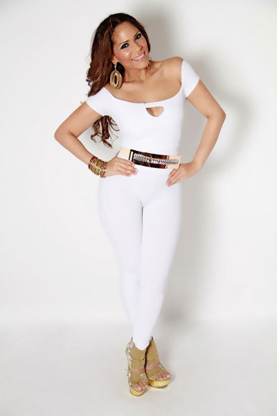 Off shoulder Catsuit With a Keyhole on Chest in White - MY SEXY STYLES  - 3