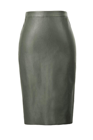 Kaylani Fashion Faux Leather Back Slit Pencil Midi Skirt