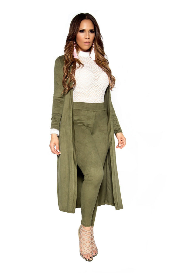 Olive Suede Matching Duster Jacket and Pants Set