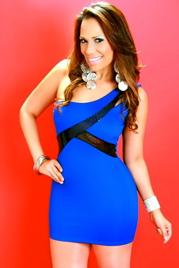 One Shoulder Royal Blue Bodycon Mini Dress