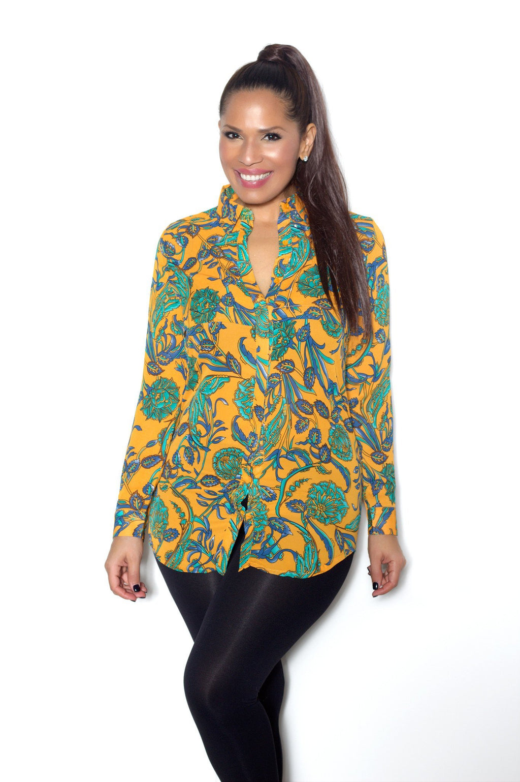 Orange Jade Navy Long Sleeve Paisley Floral Print Tunic Shirt - MY SEXY STYLES