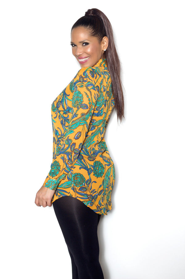 Orange Long Sleeve Paisley Floral Print Tunic Shirt - MY SEXY STYLES  - 2