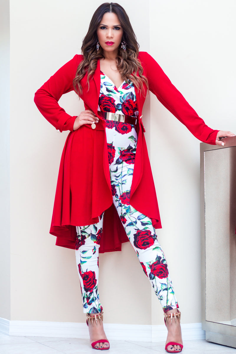 Paloma High Low Fashion Red Blazer