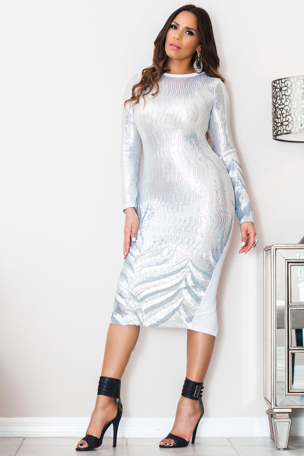 Pamela Sheer Silver Sequin Long Sleeve Midi Dress