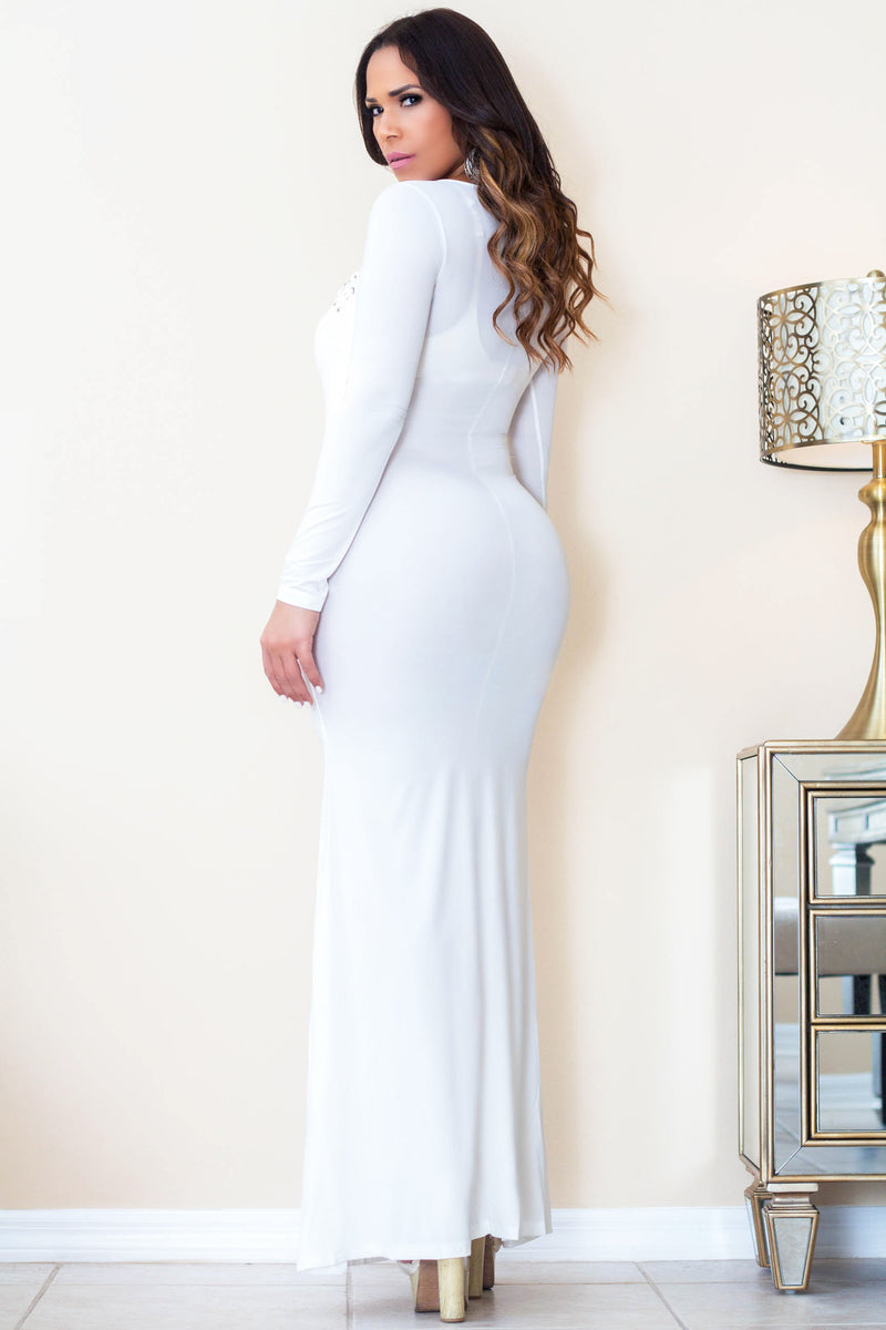 Pamina Long Sleeves Bodycon Laced Up White Dress