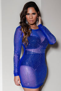 Paola Sexy Rhinestone Mesh See Through Round Neck Long Sleeve Bodycon Party Club Dress