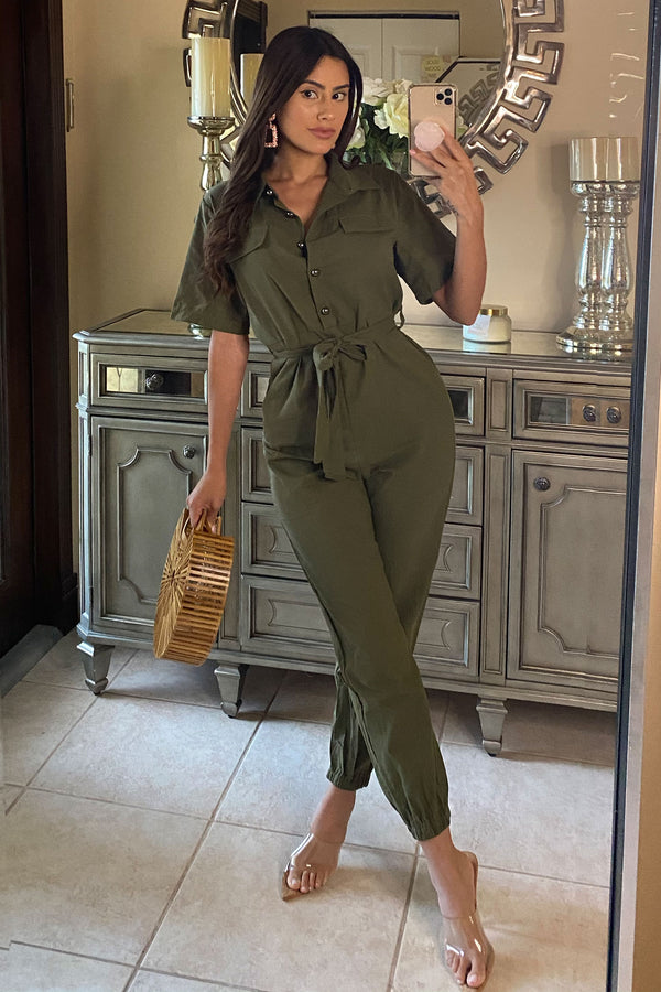 Payton Button Down Casual Jumpsuit