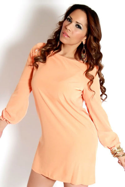 Peach Long Sleeves With Cut Out Stylish Dress - MY SEXY STYLES