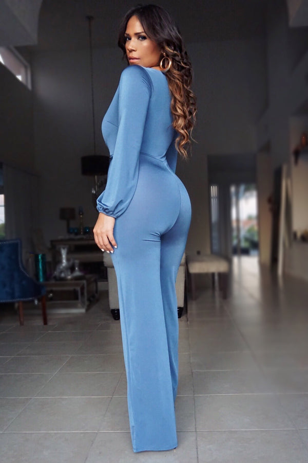 Pearl Blue Satin Long Sleeve Jumpsuit W/ Waist Tie
