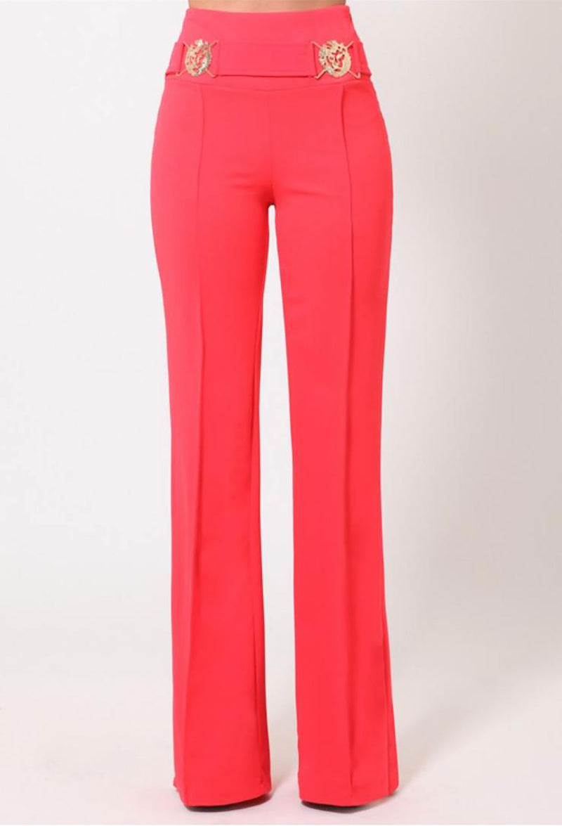 Pia Coral Classy High Waist Pants W/ Golden Lion Details