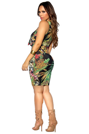 Sleeveless Bodycon Multicolor Flower Print Casual Dress - MY SEXY STYLES