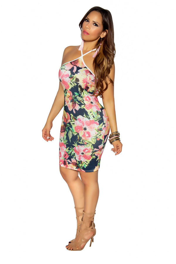 Pink Green Floral Print Halter Bodycon Dress