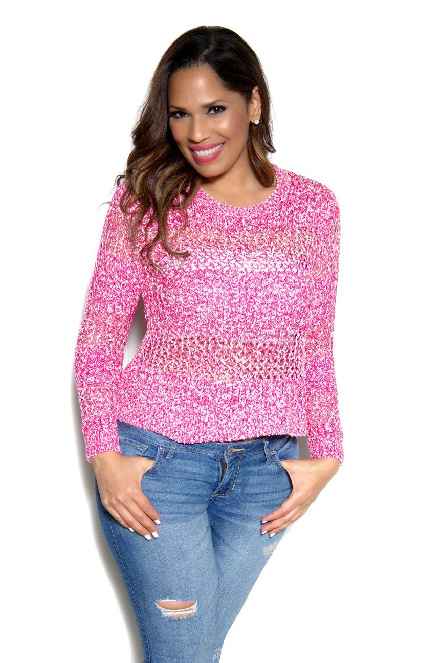 Marbled Pink Knit Sweater Top - MY SEXY STYLES