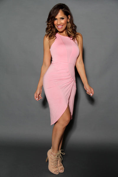 Pink Sleeveless Chic Dress With Crossed Pleated Skirt - MY SEXY STYLES