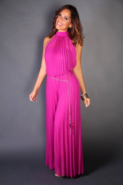Pleated Fuchsia High Neck High Neck Cocktail Jumpsuit W/ Chain Belt - MY SEXY STYLES