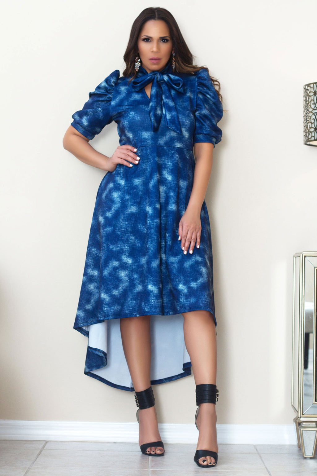 Plus Size Chic Navy Denim Neck Tie High Low Dress