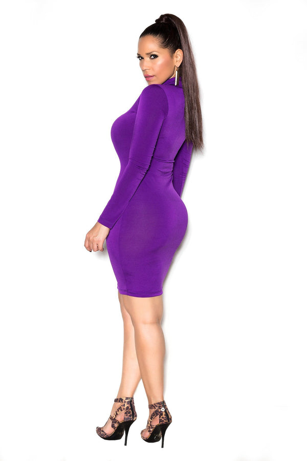 Purple Long Sleeve High Neck Midi Bodycon Dress - MY SEXY STYLES  - 4