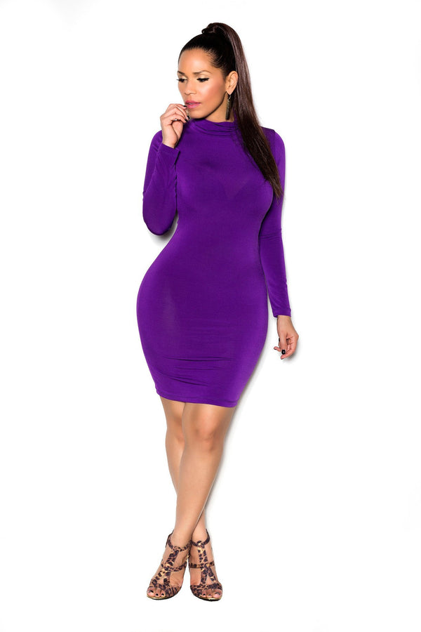 Purple Long Sleeve High Neck Midi Bodycon Dress - MY SEXY STYLES  - 3