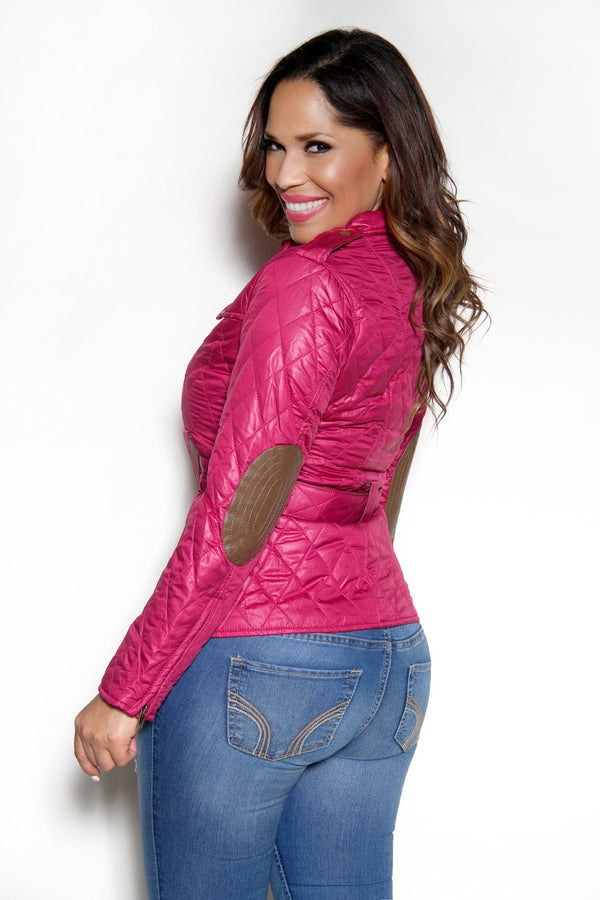 Quilted Long Sleeves Belted Magenta Jacket - MY SEXY STYLES  - 2
