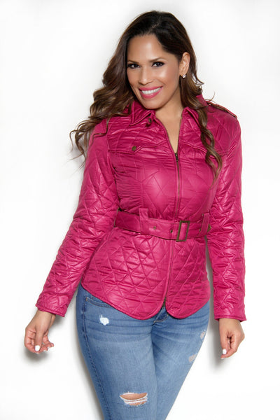 Quilted Long Sleeves Belted Magenta Jacket - MY SEXY STYLES  - 1