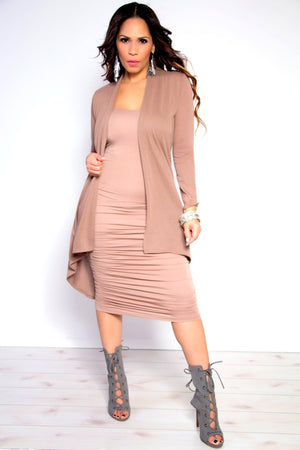 Camila Ruched Spaghetti Strap Solid Midi Dress in Nude - MY SEXY STYLES