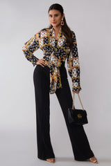 Raven Print Long Sleeves Tied Blouse