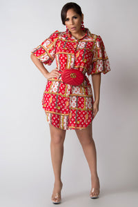 Raven LV Print Lantern Sleeves Shirt Dress W/ Waist Tie