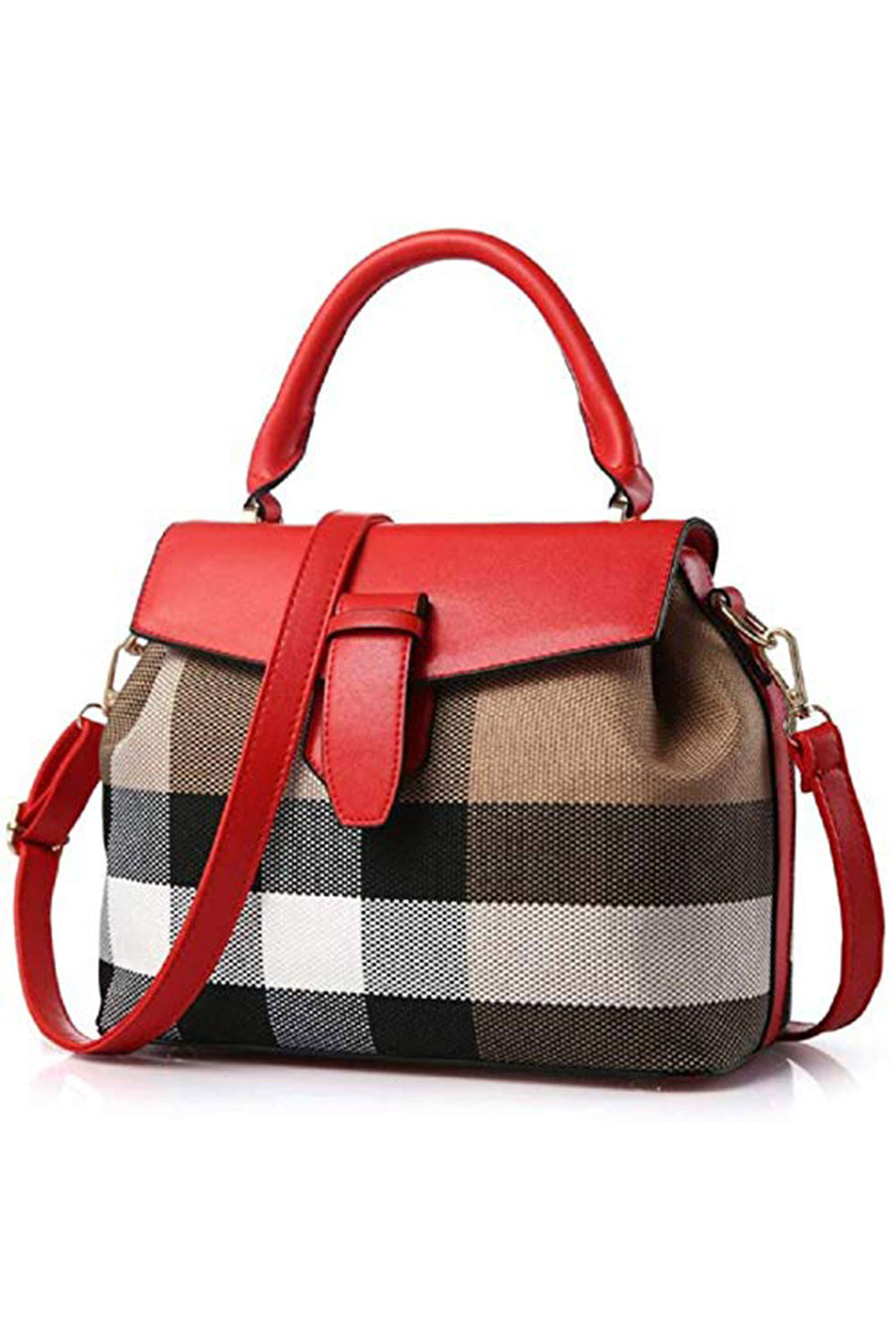 Stylish Cross-Body Checkered Red Beige Purse