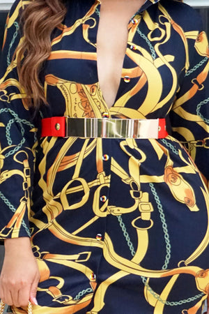 Red Stretch Gold Plated Belt