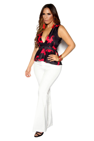 Red Black Plunging Sleeveless Flutter Top
