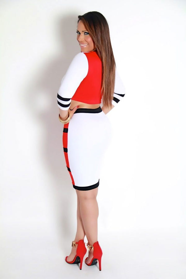 Red Black White Color Block Bodycon Pencil Skirt