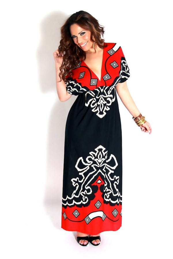 Red Black White Print V-Neck Maxi Dress - MY SEXY STYLES  - 1