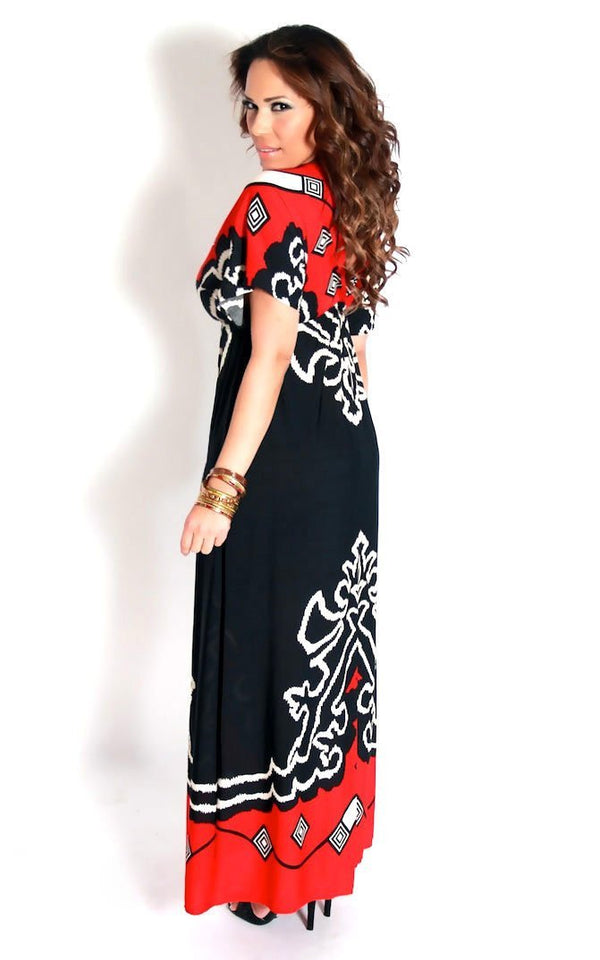 Red Black White Print V-Neck Maxi Dress - MY SEXY STYLES