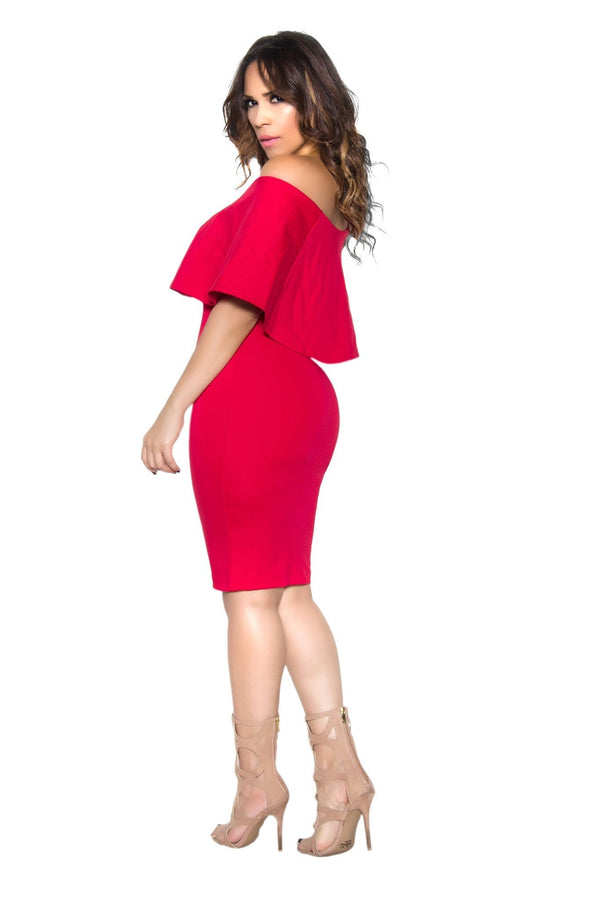Red Bodycon Off Shoulder Ruffle Frill Midi Dress - MY SEXY STYLES  - 4